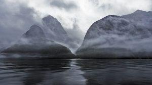 Preview wallpaper mountains, water, fog, haze, nature, landscape