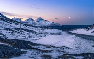 Preview wallpaper mountains, winter, snow, sea