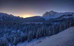 Preview wallpaper mountains, winter, snow, trees