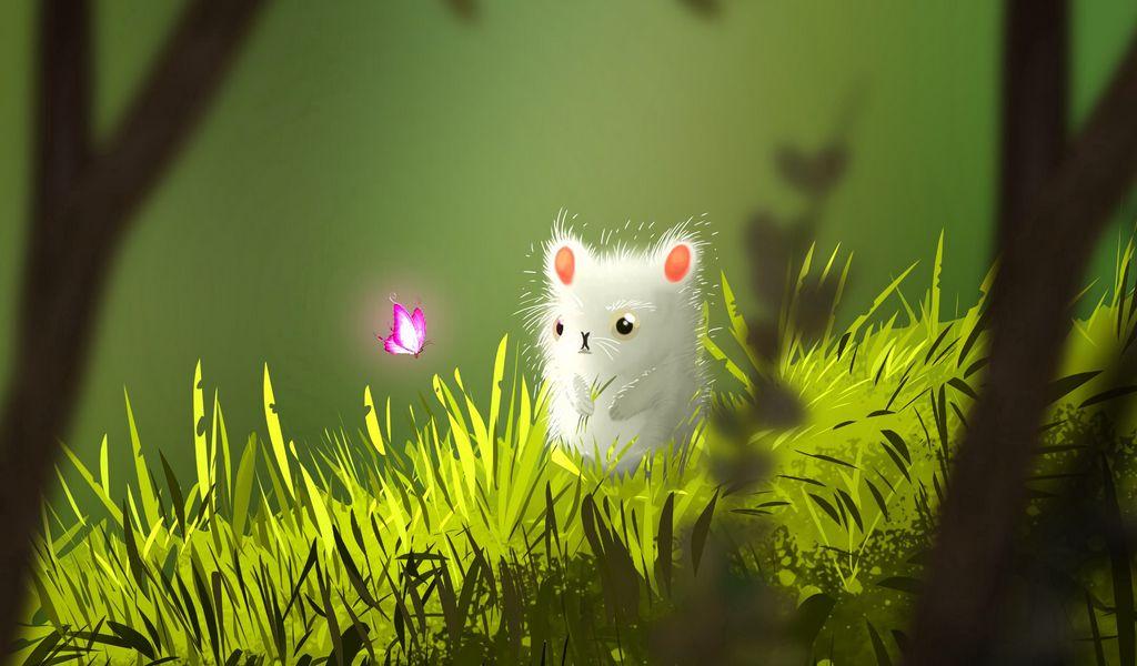 1024x600 Wallpaper mouse, butterfly, cute, grass, art