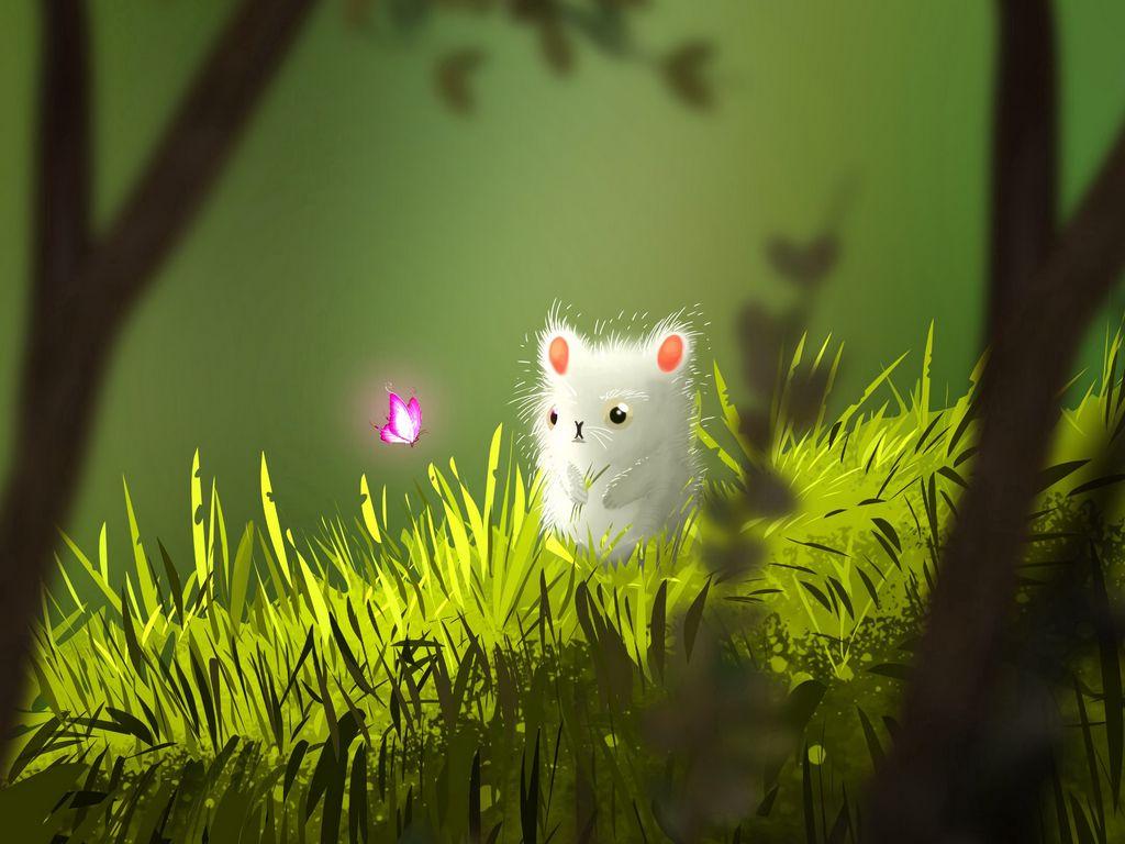 1024x768 Wallpaper mouse, butterfly, cute, grass, art