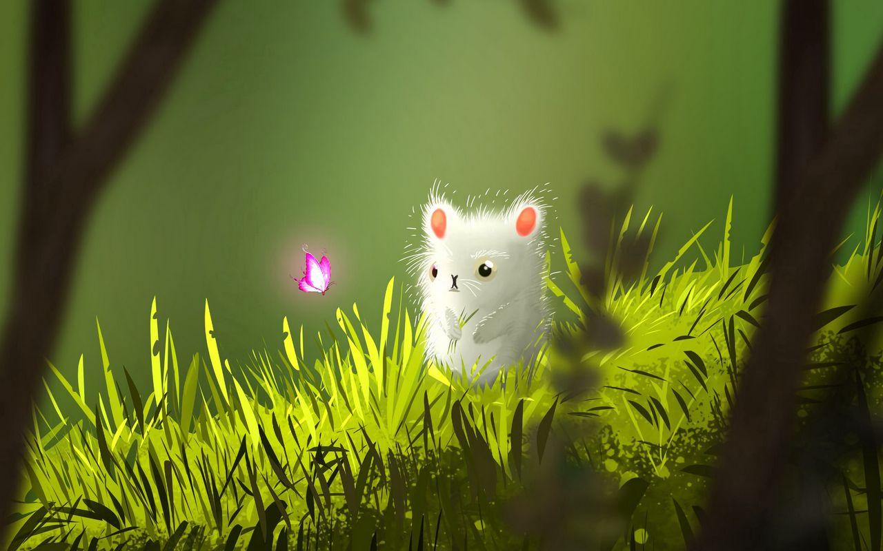 1280x800 Wallpaper mouse, butterfly, cute, grass, art