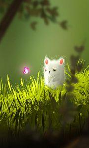 Preview wallpaper mouse, butterfly, cute, grass, art