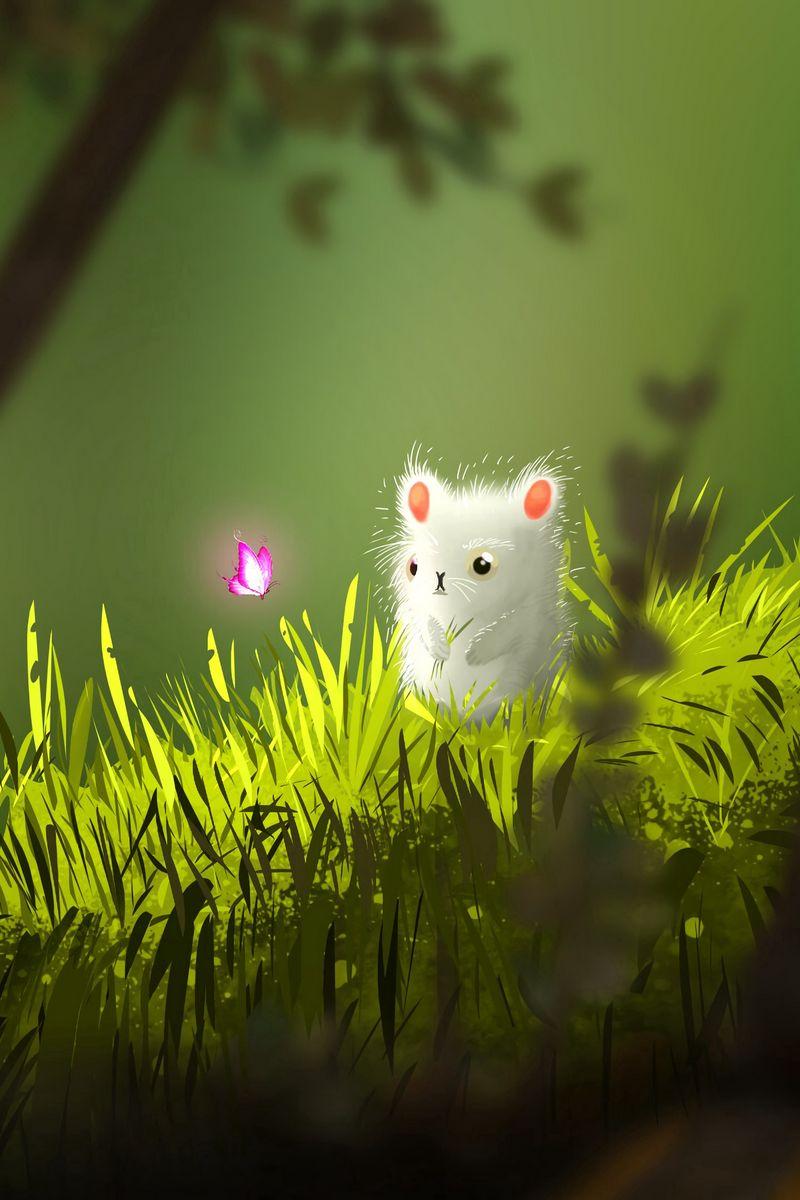 800x1200 Wallpaper mouse, butterfly, cute, grass, art