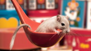 Preview wallpaper mouse, ladle, sitting, spoon, curiosity