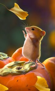 Preview wallpaper mouse, rodent, cute, leaves, art