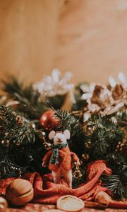 Preview wallpaper mouse, toy, christmas, new year, decoration, blur