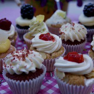 Preview wallpaper muffins, cupcakes, cream, dessert, aesthetics