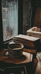 Preview wallpaper mug, books, mood, window, autumn