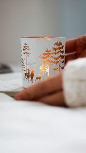 Preview wallpaper mug, deer, trees, decoration