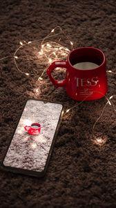 Preview wallpaper mug, garland, phone, red