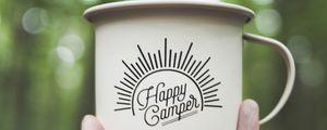 Preview wallpaper mug, hand, inscription, camping