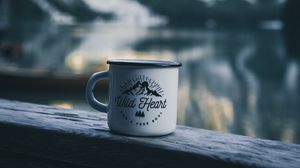 Preview wallpaper mug, inscription, camping, mountains, travel