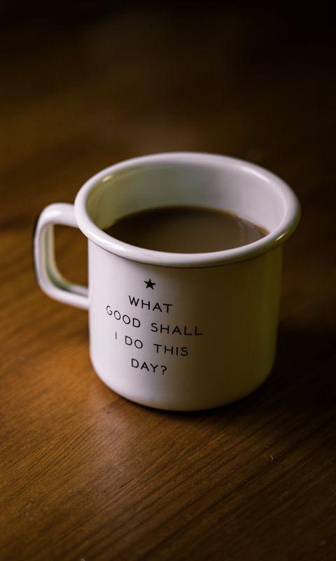 480x800 Wallpaper mug, inscription, motivation, drink