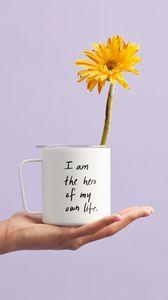 Preview wallpaper mug, inscription, self-affirmation, motivation, flower, hand