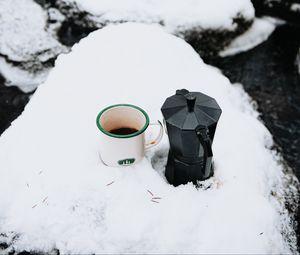 Preview wallpaper mug, kettle, tea, snow, winter