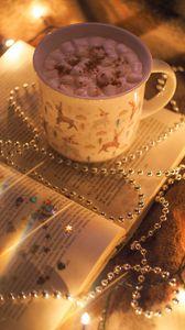 Preview wallpaper mug, marshmallow, book, necklace, glare