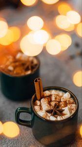 Preview wallpaper mug, marshmallow, cinnamon, anise, spices, glare, bokeh