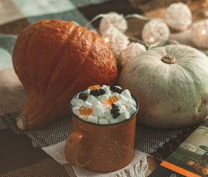 Preview wallpaper mug, marshmallow, marmalade, pumpkin, autumn