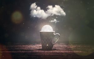 Preview wallpaper mug, moon, cloud, rain, glare, photoshop