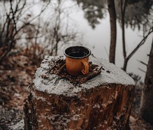 Preview wallpaper mug, tree stump, snow, nature