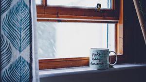 Preview wallpaper mug, window, inscription