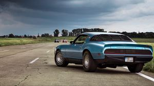 Preview wallpaper muscle car, coupe, luxury, road, side view