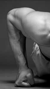 Preview wallpaper muscles, guy, fist, sport, black and white