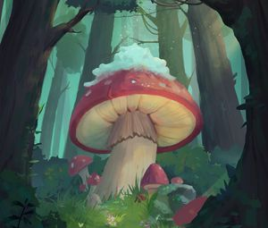 Preview wallpaper mushrooms, forest, fairy tale, art