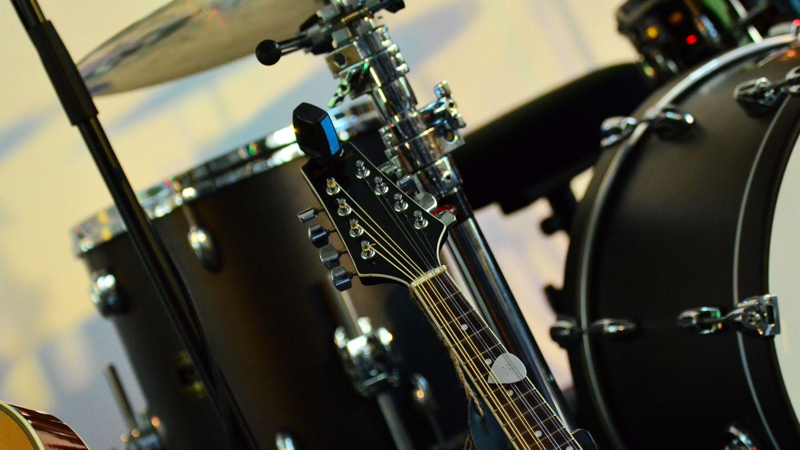 1600x900 Wallpaper musical instrument, music, percussion, guitar