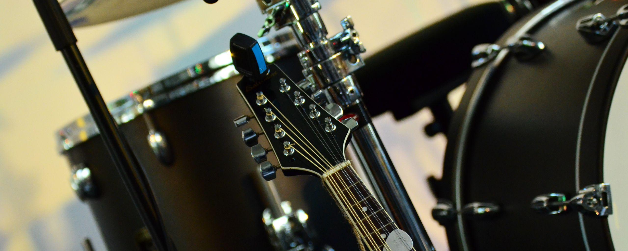 2560x1024 Wallpaper musical instrument, music, percussion, guitar