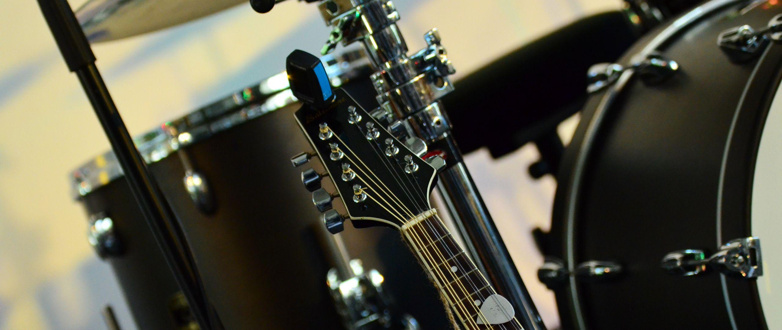 2560x1080 Wallpaper musical instrument, music, percussion, guitar