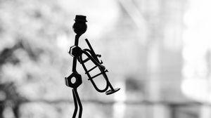 Preview wallpaper musician, pipe, metal, statue