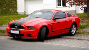 Preview wallpaper mustang, car, muscle car, red