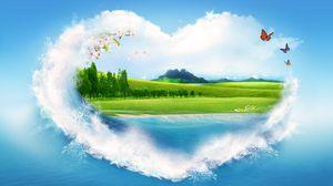 Preview wallpaper nature, pattern, clouds, summer, heart