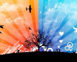 Preview wallpaper nature, vector, plane, sky, stripes