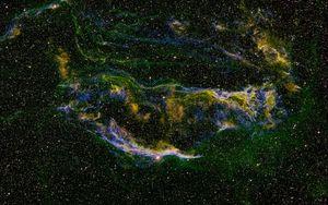 Preview wallpaper nebula, glow, stars, glare, green, space