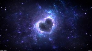 Preview wallpaper nebula, heart, glow, space, energy