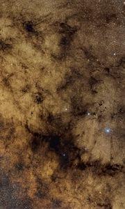 Preview wallpaper nebula, stars, glare, space, brown