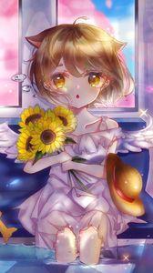 Preview wallpaper neko, angel, sunflowers, bouquet, anime, art