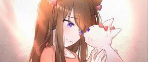 Preview wallpaper neko, ears, cat, anime, art, cartoon
