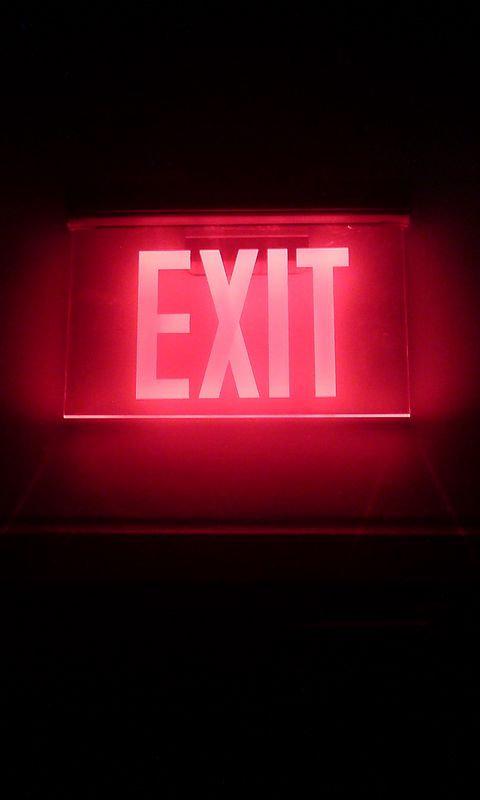 480x800 Wallpaper neon, backlight, inscription, exit