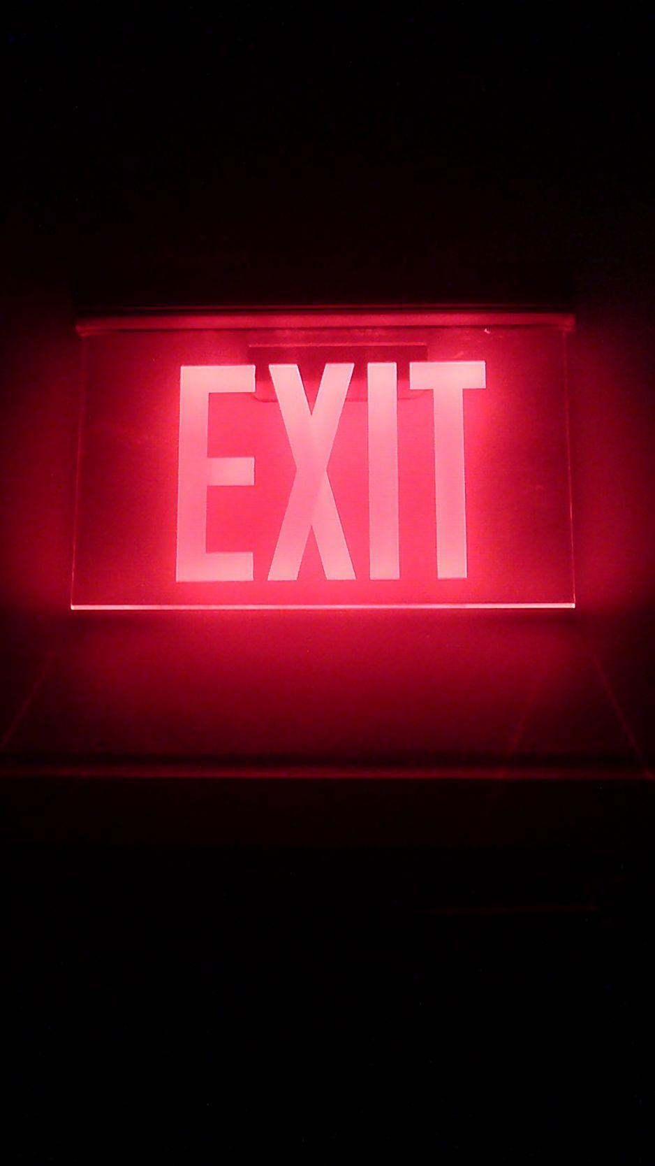 938x1668 Wallpaper neon, backlight, inscription, exit