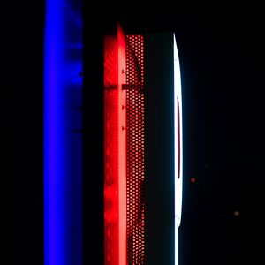 Preview wallpaper neon, backlight, wall, dark, blue, red