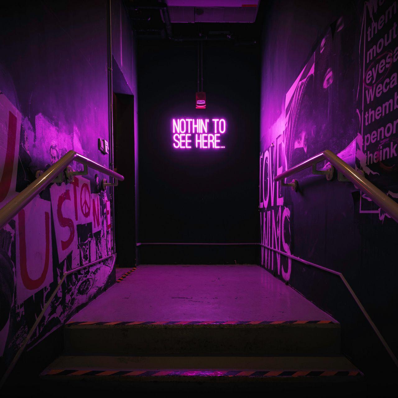1280x1280 Wallpaper neon, inscription, wall, purple, backlight