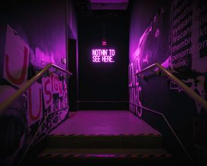 Preview wallpaper neon, inscription, wall, purple, backlight