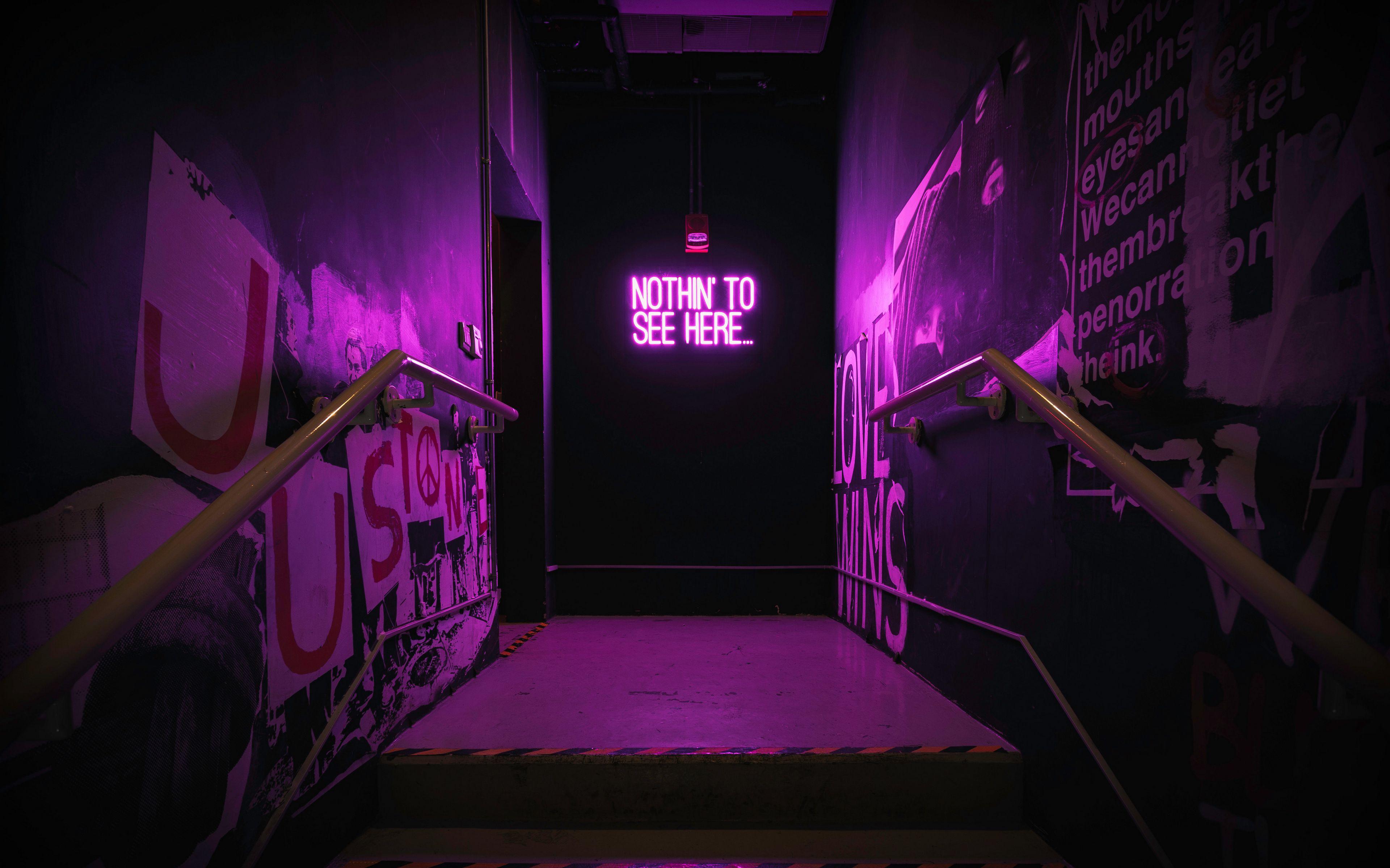 3840x2400 Wallpaper neon, inscription, wall, purple, backlight