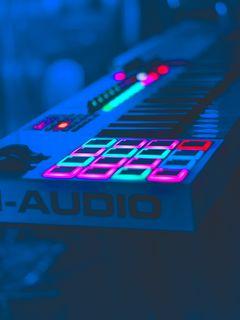 240x320 Wallpaper neon, key, instrumental, audio