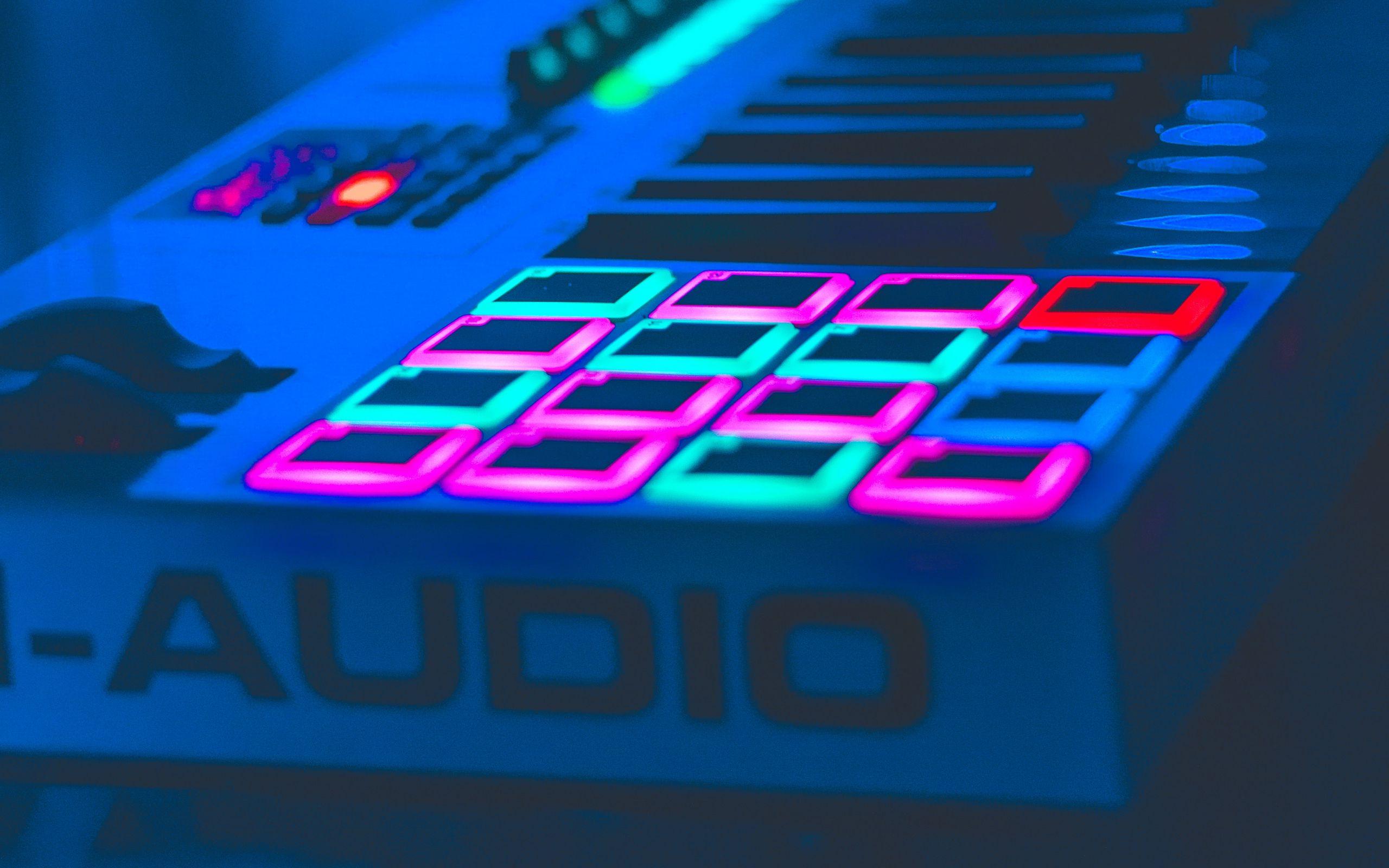 2560x1600 Wallpaper neon, key, instrumental, audio