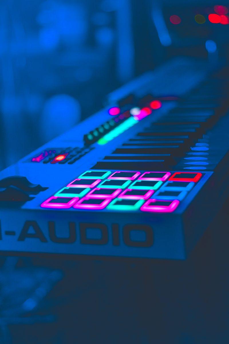 800x1200 Wallpaper neon, key, instrumental, audio